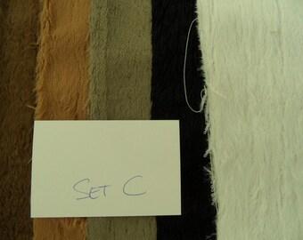 Set.Nr. C, 5 morceaux de viscose SCHULTE emmêlé 25/35 cm de belles nuances de marron/noir/blanc.