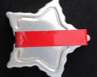 Vintage Aluminum Star Cookie Cutter with a Red Metal Handle PSS 2597