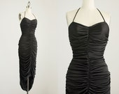 20% Off With Coupon Code! 70s Vintage Black Ruched Grecian Mermaid Maxi Sun Dress / Size Small