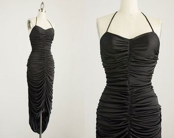 70s Vintage Black Ruched Grecian Mermaid Maxi Sun Dress / Size Small