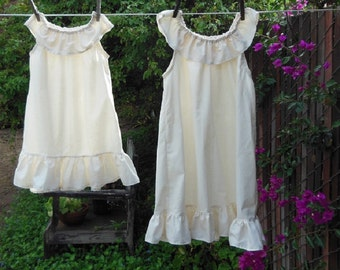 Sweet Summer Nightgown Girls Sleeveless Cotton Ruffles Custom made