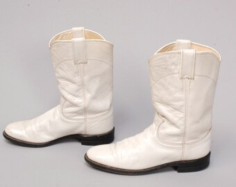 size 8.5 JUSTIN iridescent white leather 70s 80s ROPER midcalf SOUTHWEST boots
