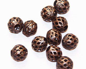 20 pcs of Antique Copper round  filigree beads 8x7mm, Red bronze beads