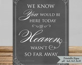 Printable Wedding Sign - Blackboard Chalkboard Memorial Sign 4x6, 5x7, 8x10 - Instant Download PDF - If heaven wasn't so far away