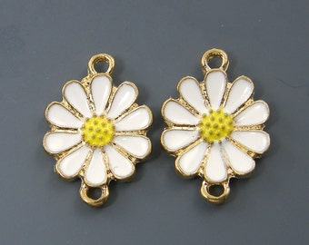 2 Pcs White Yellow Gold Flower Jewelry Connector Double Enamel Daisy Loop Link |WH3-6|2