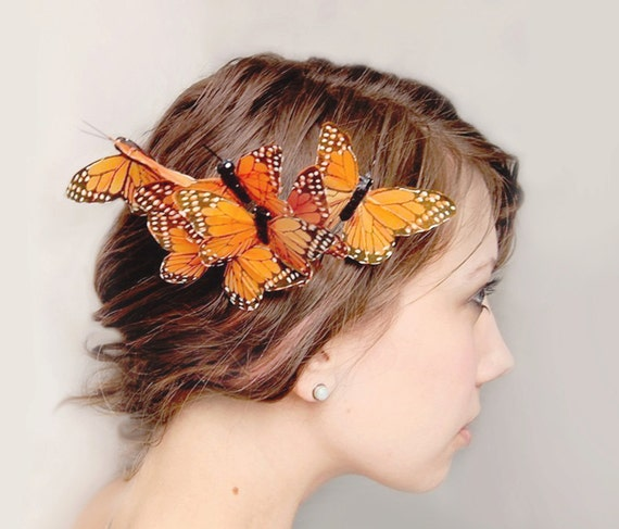 butterfly hair comb whimsical butterfly accessory orange