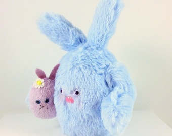 Mini Mad Eyed Bunny Monster Plush Key Chain with Baby Bunny