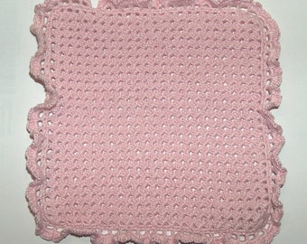 Crocheted pink plaid miniature for dollhouse 1:12