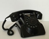 vintage black rotary dial telephone Holland PTT