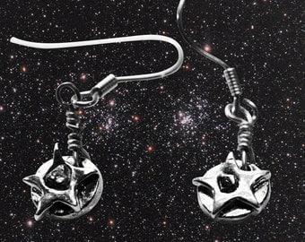 Silver Meteorite Earrings