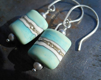 Blue earrings handmade sterling silver 925 pale blue artist lampwork beads ivory fine silver forged hammered long rustic dangle drop women