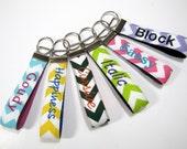 Personalized Fabric Key Ring  Keychain, Chevron Key Chain, Wristlet Key Chain, Teacher Appreciation,  Christmas Gift, Stocking Stuffer, gift
