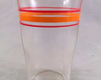 Vintage SWANKY SWIG 1950's Era Juice Glass with Orange and Red Rings