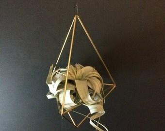 XL Geometric Himmeli Hanger -  teardrop - brass