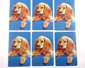 Vintage Playing Cards with Light Brown Cocker Spaniel Dogs Set of 6