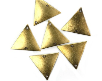 Dapped Triangle Charm or Connector Small 2 Holes Brass Ox (4) CP294