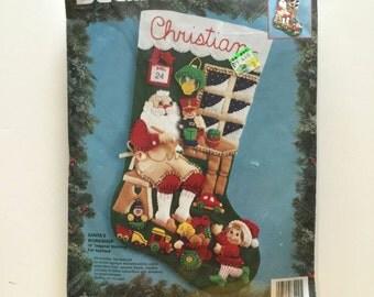Bucilla Felt Christmas Stocking Kit - Santas Workshop - Unopened