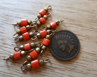 12 Vintage Japanese Orange Red Glass and Brass Bead Section Connectors C33