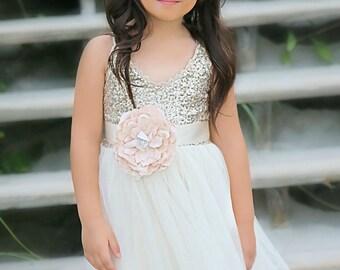 Gold Ivory Tulle  Flower Girl Dress Headband set, Gold sequin dress, Gold Ivory Wedding, Gold glitter dress,  Ivory tutu dress