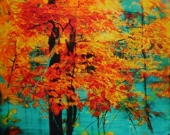 Trees, Autumn tapestry, 16x20 inches, #Landscape, photography, nature, Autumn art, Fall decor, Michigan, Original, Fine Art photograph