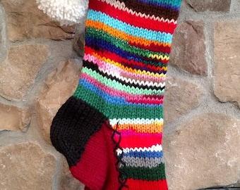 Old Fashioned Hand Knit Christmas Stocking White Snowflakes Burgundy Red Rainbow Stripe Rag Series