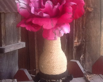 Pretty Jute Wrapped Bottle with black decorations and Big Pink Flower - Vase