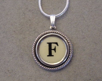 Typewriter key jewelry necklace CREAM  LETTER F  Typewriter Key Necklace Initial Necklace F