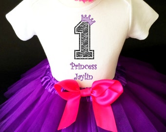 Purple Zebra Princess Crown Hot Pink 1st First Girl Birthday Tutu Outfit Custom Personalized Name Age Party Shirt Set