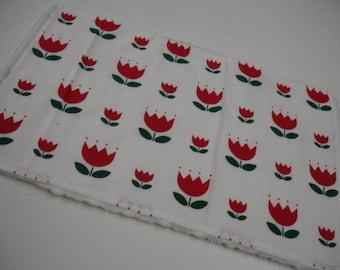 Red Scandinavian Flowers Minky Burp Cloth READY TO SHIP