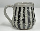 Handmade Black and Grey Mug Stripes and Flowers Handmade Ceramic Mug made by Bonnie Stowe Pottery