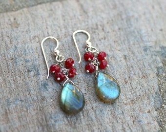 Labradorite and Ruby Gemstone Wire Wrapped Handmade Sterling Silver Earrings, July Birthstone Jewelry, MindyG