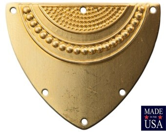 6 Hole Raw Brass Dapped Triangle Shield Tribal Pendant Connector (4) mtl180A