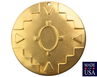 1 Hole Raw Brass Southwestern Drop / Pendant 48mm (2) mtl484A