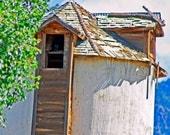 Old Silo Batfry Owl in Window Taos art, New Mexico Blue shadows Window Fine Art Giclee photograph 8x12