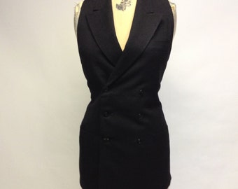 Eco Black Sleeveless Blazer Vest