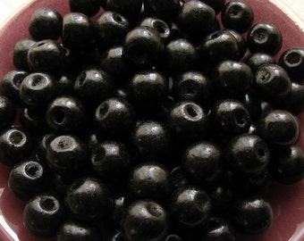 Black Wooden Beads - Over 100 - 12mm Glossy Black Wood Beads (WBD0069)