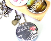 Enjoy the Journey Locket Necklace, Wander Locket, Adventure Awaits, 3 in 1, Chalkboard Art Locket, Recycled Steel, Gift for Her, Inspiration