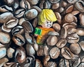 Aquaman in the Great Coffee Bean Escape! ORIGINAL watercolor painting by Redstreake