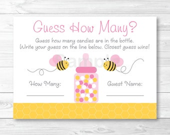 Pink Bumble Bee Guess How Many Baby Shower Game / Bumble Bee Baby Shower / INSTANT DOWNLOAD A227