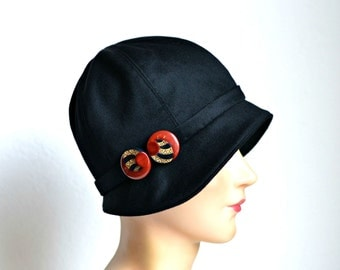 Women's Cloche Hat with Art Deco Buckle - 1920s Hat - READY TO SHIP via 3 Day Priority