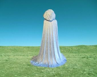 Cloak - Hooded Blue Velvet - Wedding - Renaissance Festival - Costume - Princess - Fairy God Mother