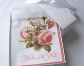 Mother of the bride wedding handkerchief, vintage flowers hankerchief, mother of the bride wedding favor, gift boxed, pink rose, non-custom