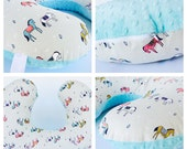 HORSES BOPPY Cover  / Zipper closure  /  Modern   cotton  print with soft Flat minky / Great neutral gender baby gift