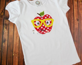 Apple Applique Shirt - Apple with glasses applique - Apple with glasses shirt - Back To School shirt - Made to Order