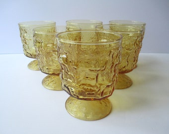 Vintage Anchor Hocking Lido Honey Footed On The Rocks Glasses Set of Six