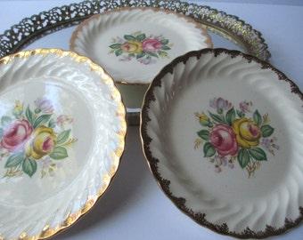 Vintage Royal Quban Rose Bread & Butter Plates Set of Three
