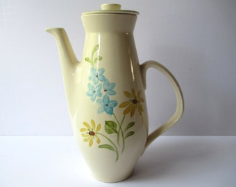 Vintage Franciscan Daisy Blue Yellow Large Coffee Pot - Cottage Chic