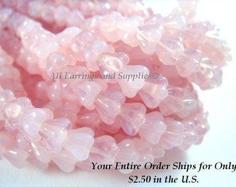25 Czech Baby Bell Flower Milky Light Pink Glass Flower Beads 6x4mm - 25 pc - G6060-LMP25