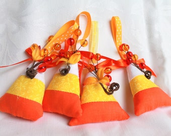 Candy Corn Plush Hanging Ornaments Set of four