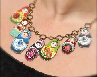 Colorful Matryoshka Charm Necklace, Russian Nesting Doll Charm Necklace, Matroyshka Charm Necklace, Nesting Doll Bib Necklace, Statement
